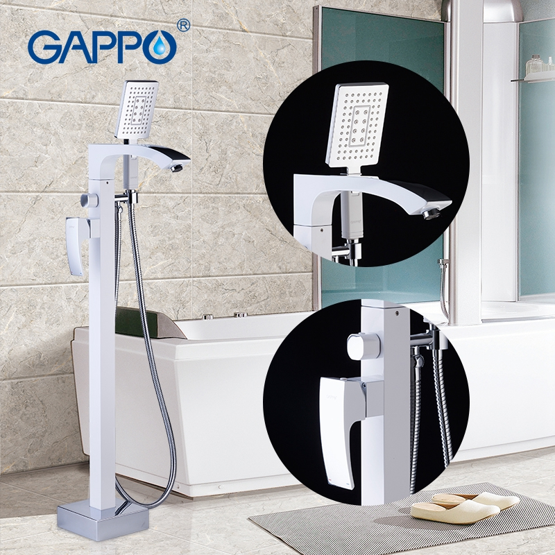 GAPPO Standing Bathtub Faucet With Handheld Shower White Stoving Varnish For Bathroom Single Holder Bathtub Mixer Tap Faucet