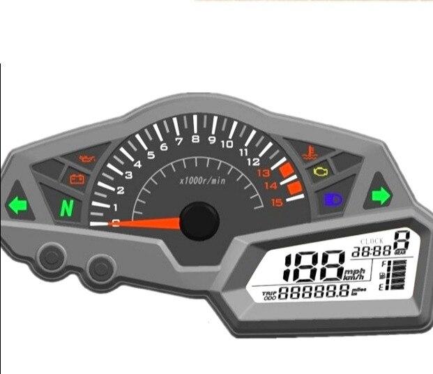 Samdo Universal 6 Gear LCD Motorcycle Speedometer Odometer RPM Speed Fuel Gauge 0 199km h