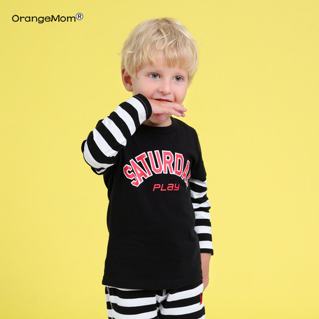 2019 new spring mother kids t shirt for boys cotton long sleeve Children costume stripe t shirt kids boys clothing 2-8 years old