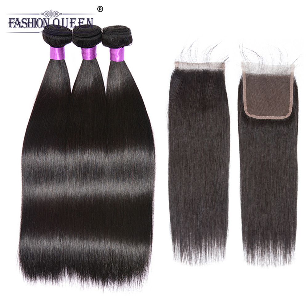 Fashion Queen Hair Brazilian Straight Human Hair 3 Bundles With Closure Brazilian Human Hair With Lace Closure