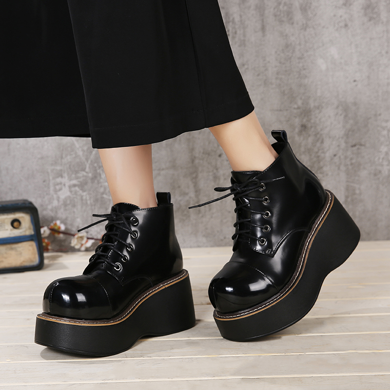 Flat Platform Women' s Boots Shoes New Arrival Lace-Up Ladies Shoes Genuine Leather Handmade Wedge Shoes Woman Big Size 41