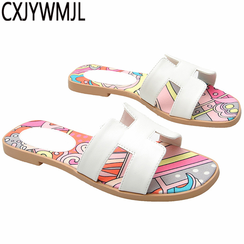 Women Slippers Summer 16 Color PU Flat Slipper Lndoor Home Shoes Beach Girls Shoes Stylish And Comfortable PU Flip Flops Female(China)