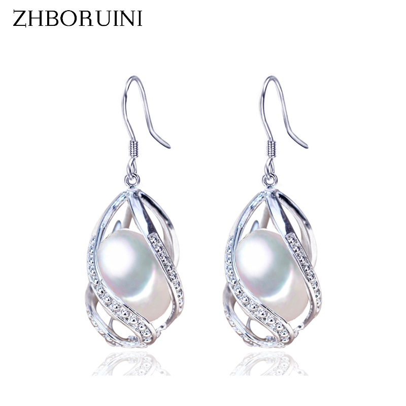 ZHBORUINI Pearl Earrings Water Drop Beads Earring Natural Freshwater Pearl 925 Sterling Silver Jewelry For Women Cage Wholesale pair of sweet rhinestone faux pearl water drop earrings for women