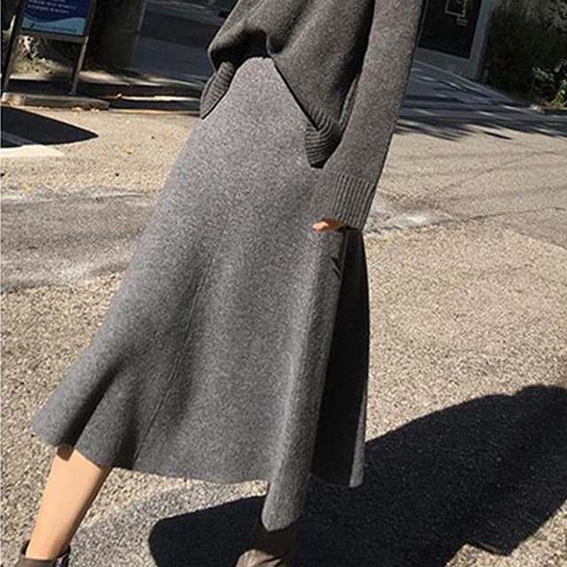2019 new cashmere long skirt wool knit a word skirt female long section high waist solid color loose umbrella skirt skirt 1