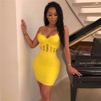 2019 New Bandage Dress Women Yellow Lace Celebrity Sexy Club Evening Party Dress V Neck Summer Vestidos