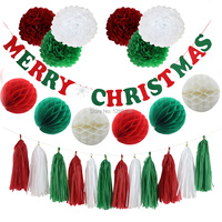 Merry Christmas Banner Red Green Paper Tassel Balloon Garland Paper Pom Poms Honeycomb Balls For Party