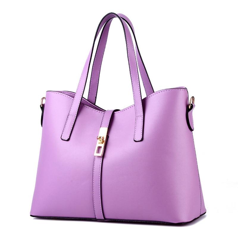 купить High Quality PU Women Handbag Elegant Purple Office Lady Shoulder Bag Lock Cusual Crossbody Messenger по цене 4147.63 рублей