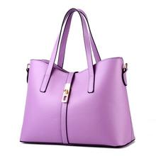 High Quality PU Women Handbag Elegant Purple Office Lady Shoulder Bag Lock Cusual Crossbody Messenger цена 2017