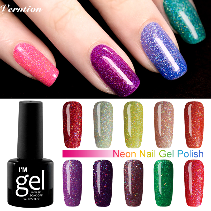 Verntion Neon Gel Nail Polish Semi Permanent 29 Colors Gel Varnish ...