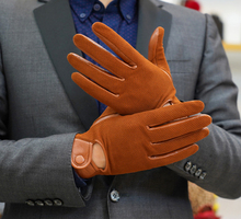 Men genuine leather gloves male thin sheepskin men driving