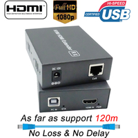 120m HDMI USB KVM Extender with Lossless No Latency KVM Extender Over Single Cat5e/6 UTP Cable RJ45 Ports HDMI USB KVM Extender