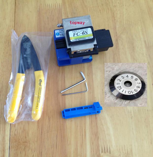 7IN1metal FIBER Cleaver FC-6S SUMOTOMO Optical FIBER Cleaver com lâmina de corte, Cfs-2 fibra cortador, Cale comprimento stripper