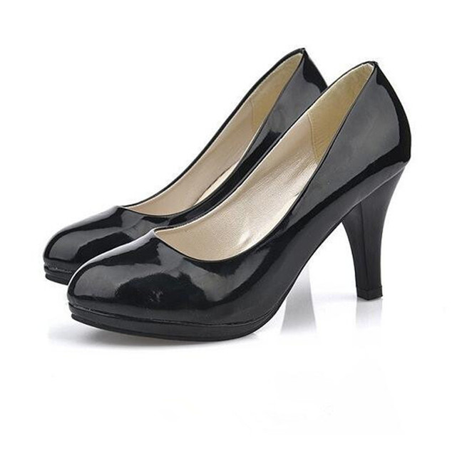 2016 summer Pumps Women s shoes comfortable Fine with Round head  Professional single shoes Work black high-heeled shoes 6a6bb7ed948a