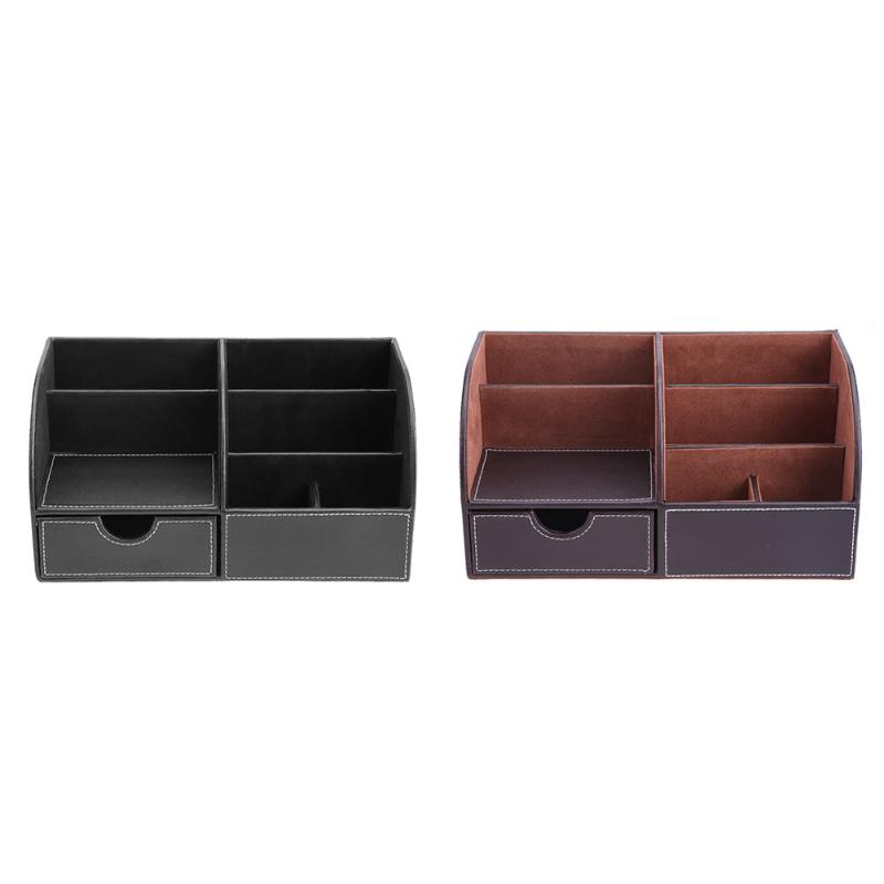 PU Leather Office Desk Organizer Desktop Card Pencil Pen Holder Stationery Storage Box Container Accessories School Supplies korean color multifunction pen holder table stand box for pencil storage student stationery office organizer school supplies