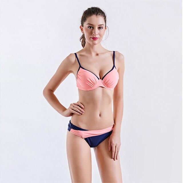 557cddfee8b1 € 16.93 8% de DESCUENTO Marca verano Sexy Push Up Bikini mujeres traje de  baño sólido Patchwork Girls Bikini traje de baño rosa/Verde playa piscina  ...