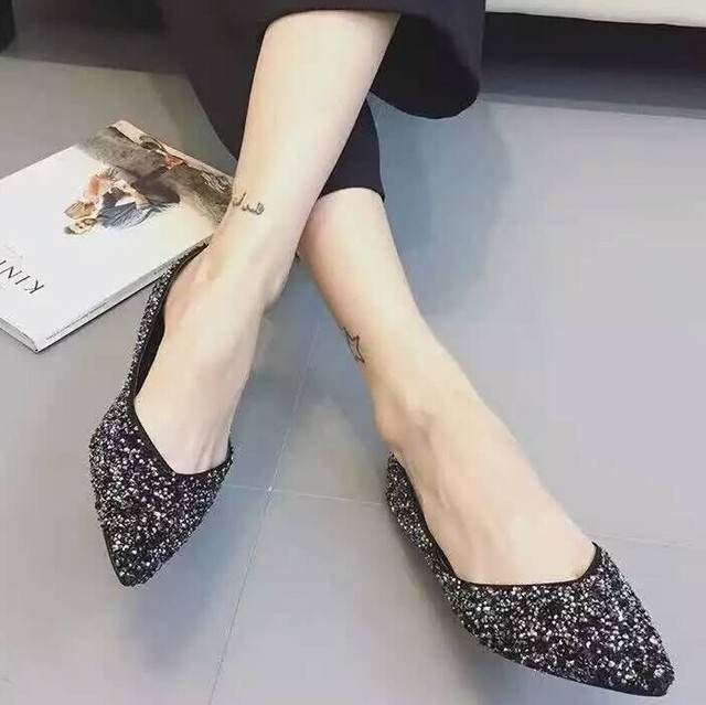 European Brand Designer Glitter Ballerina Flats Women Spring Summer Shoes  zapatos mujer Ladies Shoes Creepers Pointed Toe Flats 24edf708a538