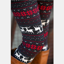 winter warm new Xmas Snowflake Reindeer New Arrival Women Printed Leggings Knitted Fashion Skinny font b