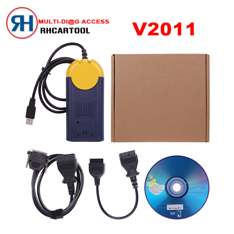 Free Shipping High quality V2011 Multi Di g Access J2534 Pass Thru OBD2 Device actia multidiag