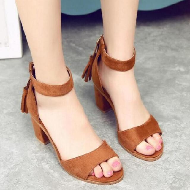 d6325f954de4b D Henlu Woman Shoes 2019 Summer Tassel Flock women sandals fringe sandal  heels Thick high heels sandals sandalias de salto alto