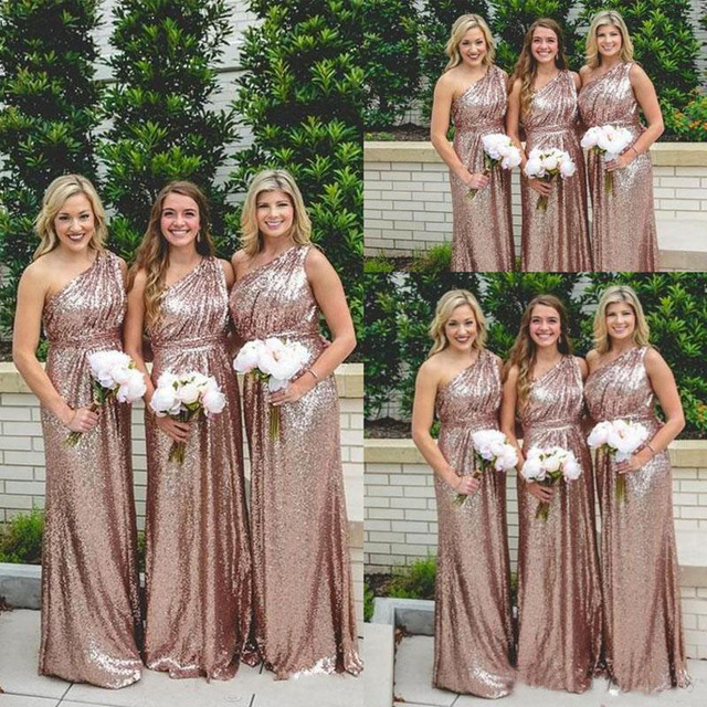 20e69fffa6e Honey Qiao 2017 Sequins Long Bridesmaid Dresses Rose Gold One Shoulder  Bling Ruched Backless Garden Cheap Wedding Party Gowns