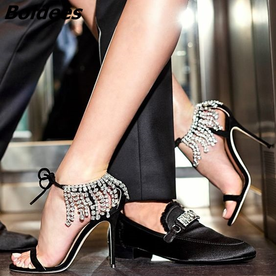 Trendy Crystal High Heel Sandals Women One Belt Glittery String Crystal Ankle Wrap Stiletto Shoes Lace Up Dress Sandals - 4