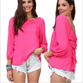 2016 New Arrival Temperamento Elegante Das Mulheres Plus Size Projeto Bowknot Chiffon Camisa camisa Blusa Sem Encosto Roupas Casuais