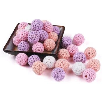 Cuentas de madera de TYRY.HU, 50 bolas de ganchillo hechas a mano de 16mm tejidas con cordón de algodón para bebés, juguetes para dentición, cadena falsa, pulsera, mezcla DIY