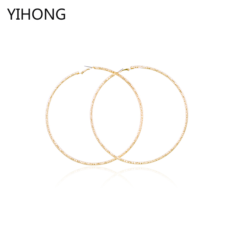 Hot sale big smooth hoop earrings basketball wives gold circle fashion jewelry