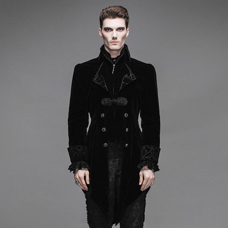 Джентльмен черный бархат Готический барокко Винтаж викторианской Тренч зимняя куртка длинные фрак CT02201