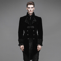 Gentleman Black Velvet Gothic Baroque Vintage Victorian Trench Coat Winter Jacket Long Tail Coat CT02201