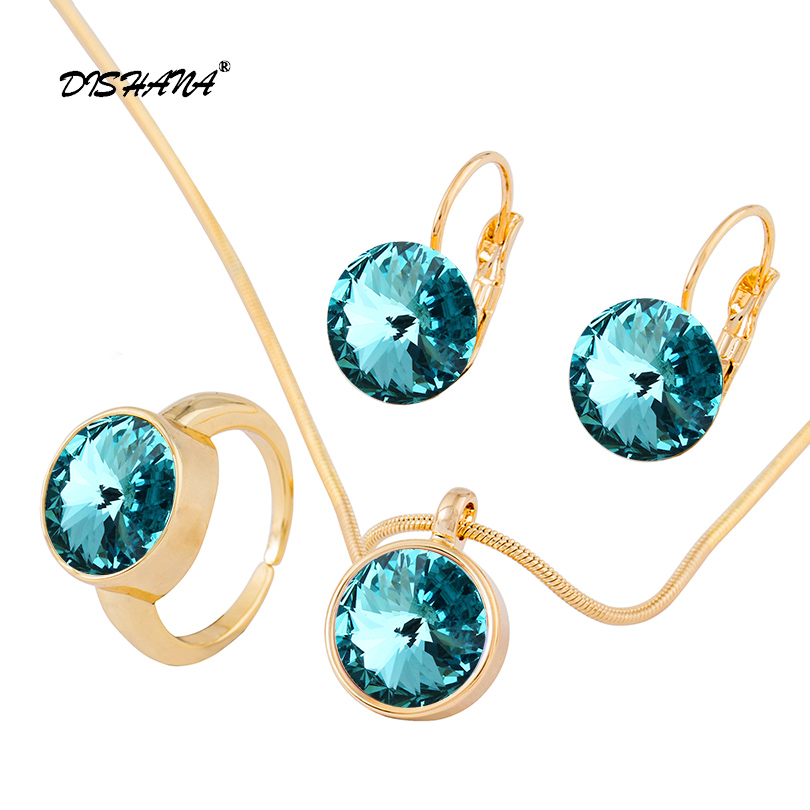 Fashion Blue Austrian Crystal Gold Color Party Jewelry Sets For Women Earring Pendant Necklace Ring (js0092) stels 87708