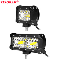 VISORAK 4 Inch 60W 7 Inch 120W LED Work Light Bar Combo 12V 24V Offroad LED