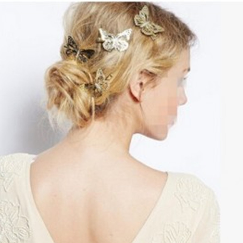 New fashion girl headdress hair shiny metallic golden butterfly hairpin clip hair jewelry women jewelry wholesale