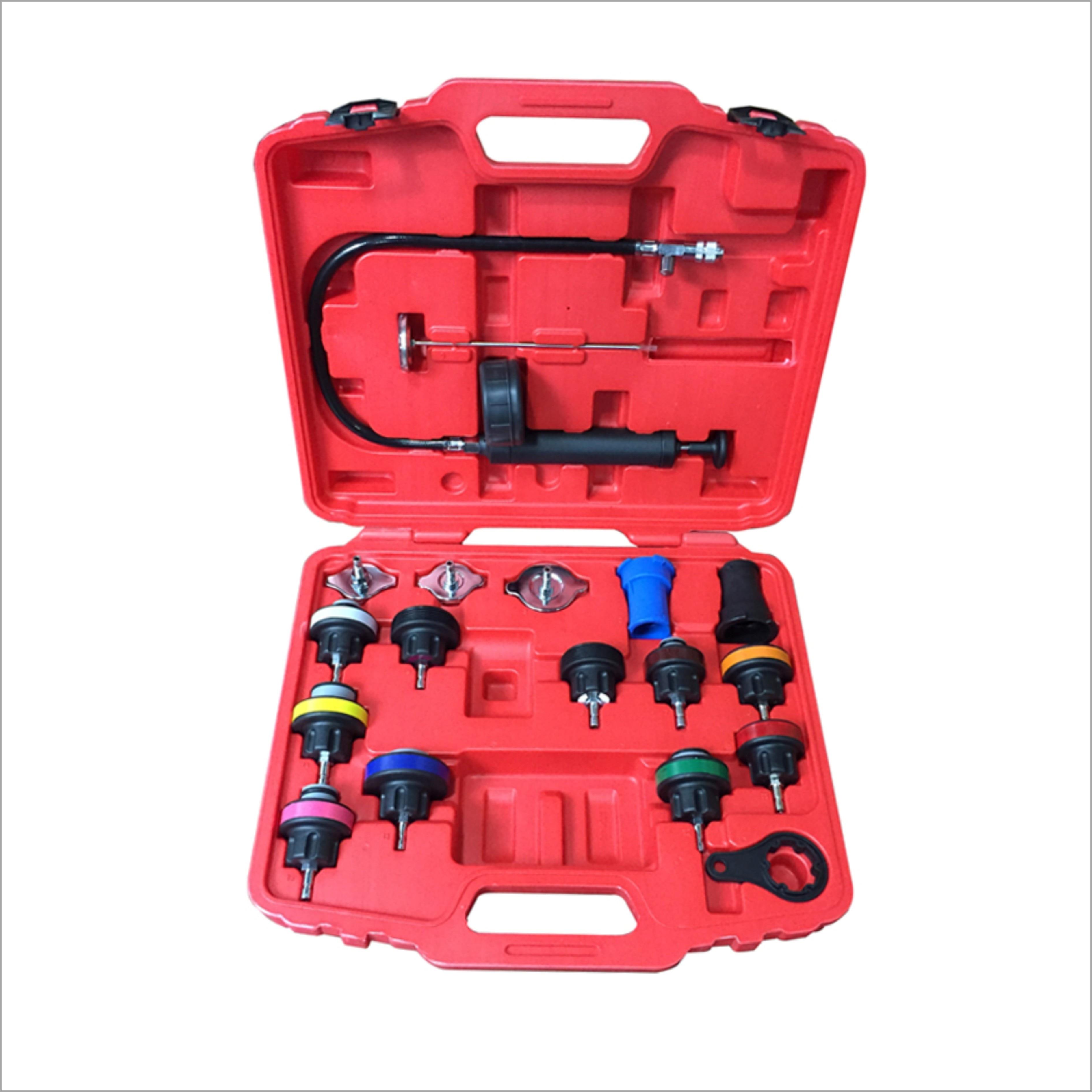 18Pcs Universal Radiator Pressure Tester Kit Car Water Tank Leak Detector