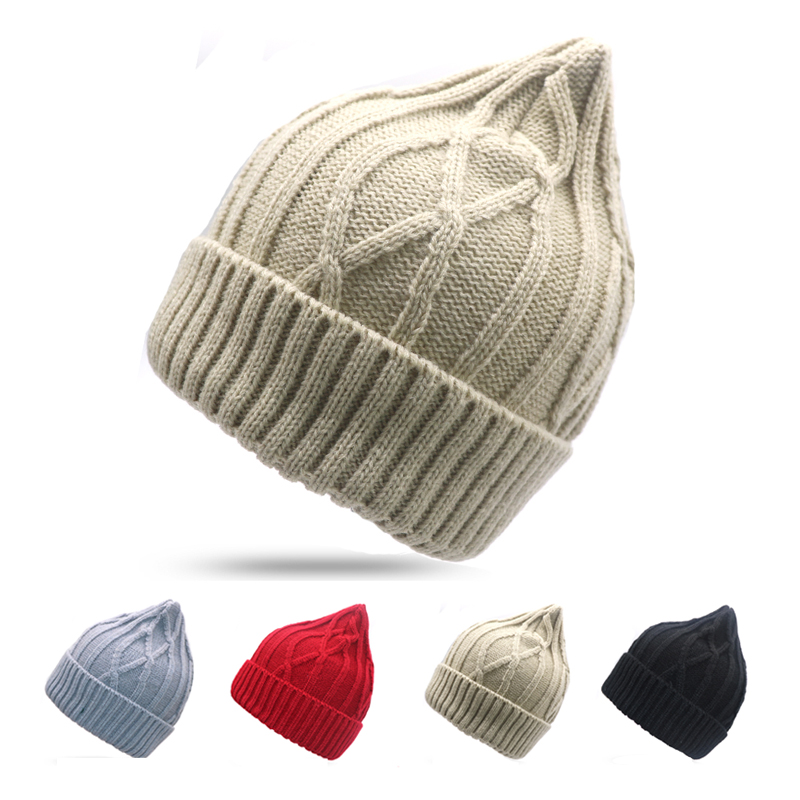1pcs Unisex Winter Hats for Women and Men Knitting   Skullies     Beanie   Hat Solid Stripes Hip Hop Outdoors Male Female Cap Bonnet