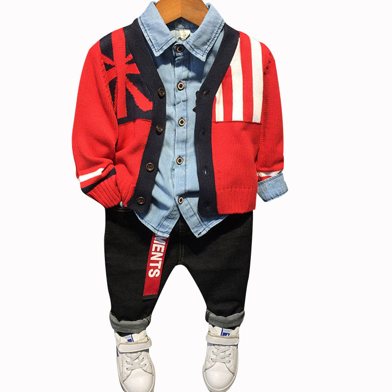 Baby embroidery rose blouse + flag cardigan + cartoon jeans Fall Spring boys 3 pcs set kids tracksuit children 2 to 7 yrs