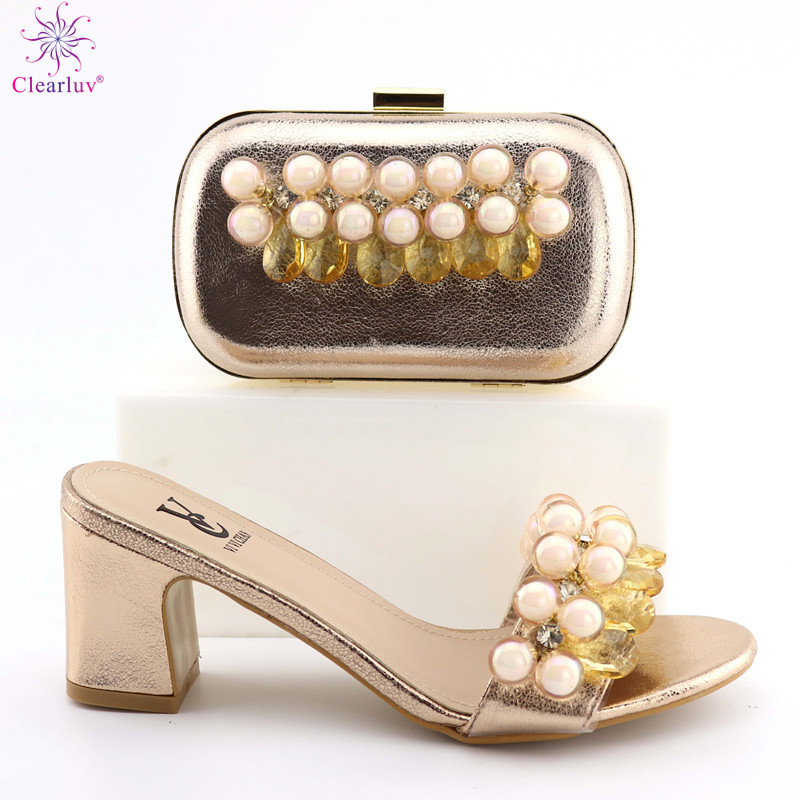 Champagne Color Shoes And Bag Set African Sets 2019 Italian Shoes And Bags To Match Shoes With Bag Set Decorated With Rhinestone