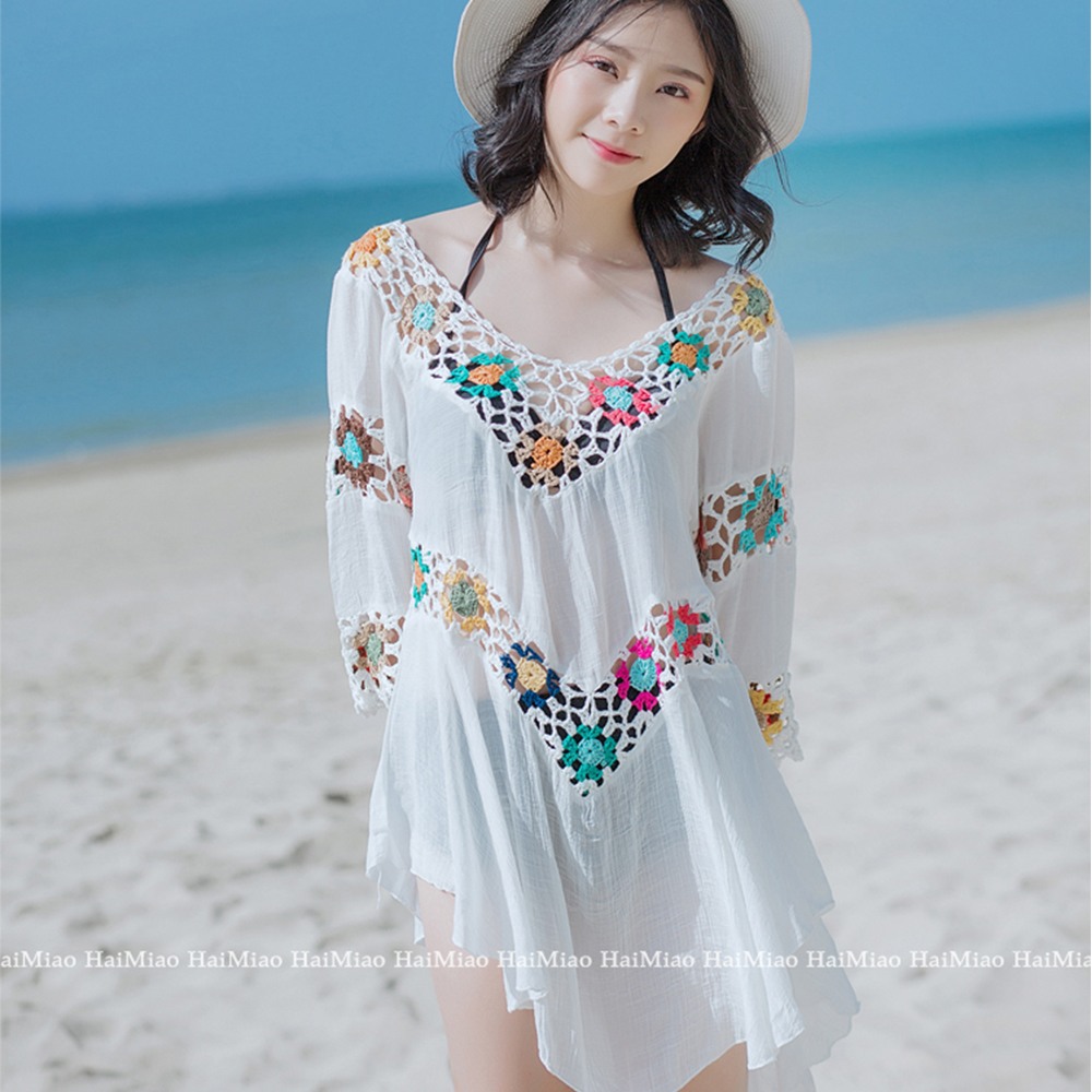 Bathing Suit Large Pareo Beach Swimsuit 2018 Beach Dress Women Swimwear Summer Dress Hollow Out Beach Tunics Clothes Cover Ups