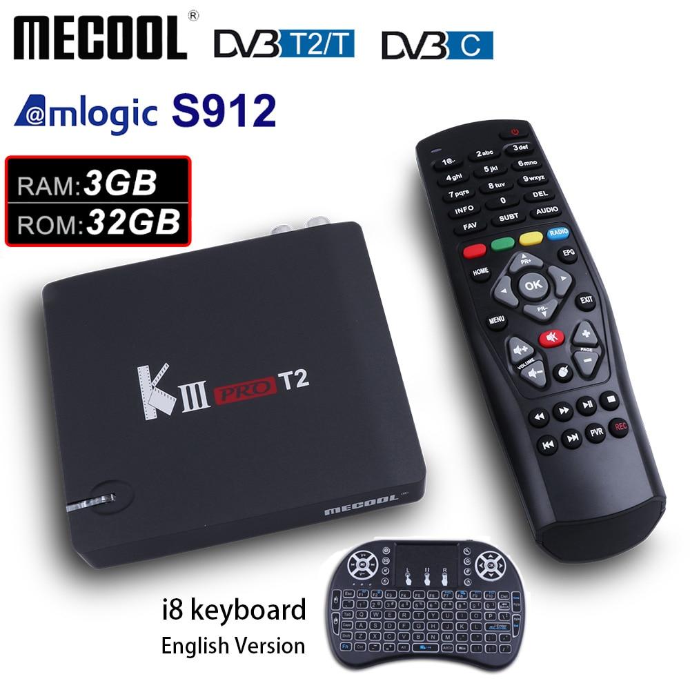 MECOOL MATAR PRO DVB-T2 Android 7.1 GB ROM Amlogic Caixa de TV 3 GB 32 S912 Octa Core 2.4G/ 5G WiFi 4 K Media Player Caixa de TV Android Inteligente