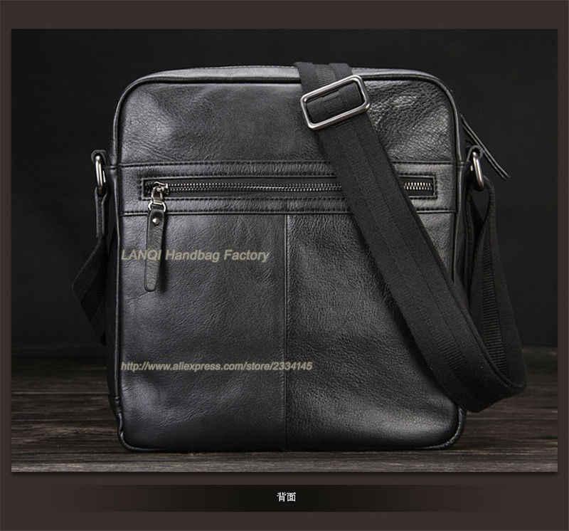 2016 New Fashion Luxury Genuine Leather Men's Messenger Bag Office Bag Leather Shoulder Bag Men Briefcase Black Free Shipping