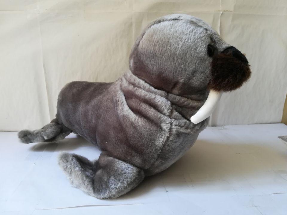 Grand 40 cm gris foncé dessin animé morse en peluche jouet doux poupée oreiller, cadeau d'anniversaire b2009
