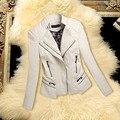НОВОЕ Пальто Корейских Новых женщин Куртки мода воротник короткий Тонкий кожаный