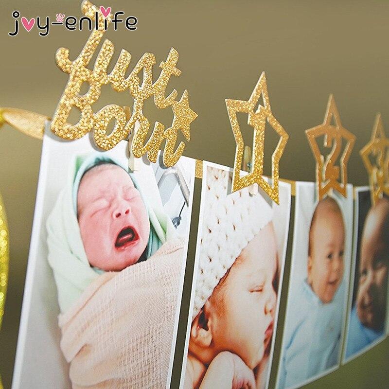 JOY-ENLIFE 1set Newborn 1-12 Month Baby Photo Banner With Clip Baby Shower Unicorn/Star Banner 1st Birthday Party Decor Supplies
