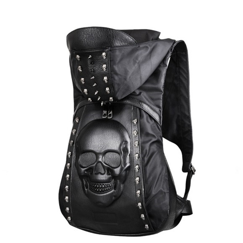 New 2019 Fashion Personality 3d Skull Leather Backpack Rivets Skull Backpack With Hood Cap Apparel Bag Cross Bags Hiphop Man 585