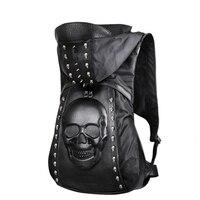 Nowy 2017 Moda Osobowość 3D Czaszka Skórzana Plecak Nity Czaszki plecak Z Kapturem Czapka Odzieży Torba Torby Krzyżowe Hiphop Mężczyzna 585