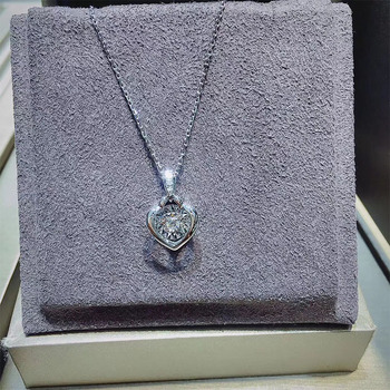 ANI 18K Solid White Gold Pendant Necklace SI Real Natural Diamond Fine Jewelry Women Engagement Necklace Heart Birthday Gift 3