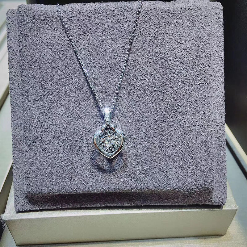 Clearance Sale┼Gold Pendant Necklace Fine-Jewelry Diamond Heart White 18K Solid Real Birthday-Gift Natural