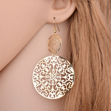 New vintage big round jewelry simple atmosphere grinding earrings hollow out fashion elegant female accessories