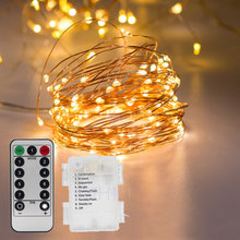 hot deal buy remote control & timer  16.5 ft 5m 50 leds copper wire warm white  battery powered led string lights starry lights fairy lights