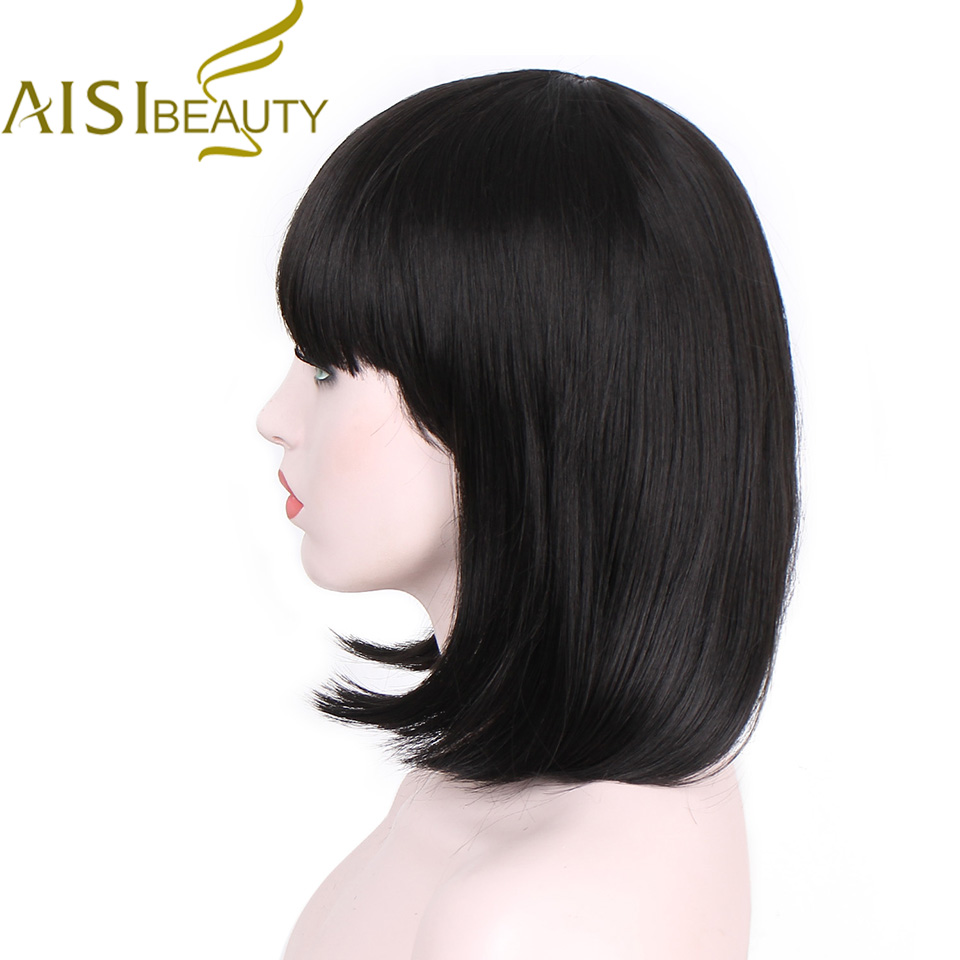 AISI BEAUTY Short Straight Wigs Womens BOB Style Full Head cosplay Wig Heat Resistant Synthetic real Thick black Hair women
